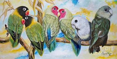 Painting - Chloe The   Flying Lamb Productions               Lovers On A Limb   by Sigrid Tune