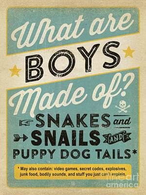 What Are Boys Made Of? Art Print by Blackwater Studio