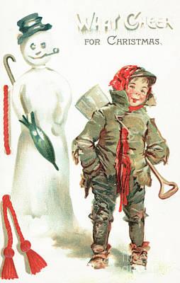 What Cheer For Christmas  Victorian Christmas Card Art Print