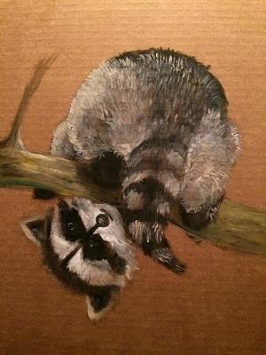 Jenna Thomas Wall Art - Painting - What Doing Raccoon by Jennifer Thomas