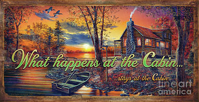 Painting - What Happens At The Cabin by Jim Hansel