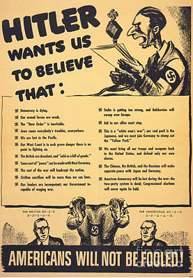 Painting - what Hitler wants us to believe World War 2 poster Americans will not be fooled by R Muirhead Art