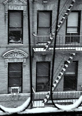 Photograph - What Lies Within - Stairways In Snow - Fire Escapes Of New York by Miriam Danar