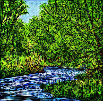Digital Art - River With Emerald Trees - Boulder County Colorado by Joel Bruce Wallach