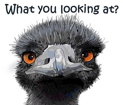 Emu Drawing - What You Looking At? by Joan Stratton