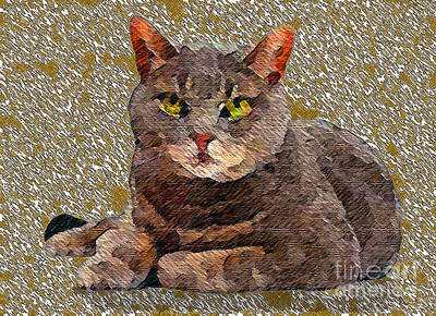 Gray Tabby Mixed Media - Buster by Marcy  Orendorff