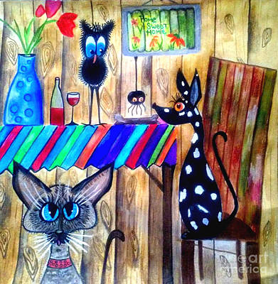 Fun Card Mixed Media - What's For Dinner by Mary Sisson