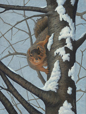 Wavra Wall Art - Painting - What's Going On? - Fox Squirrel by Robert Wavra
