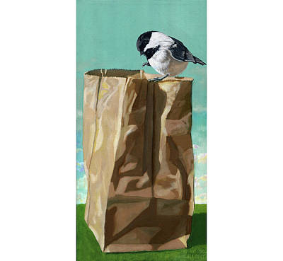 Paper Bags Painting - What's In The Bag Original Painting by Linda Apple