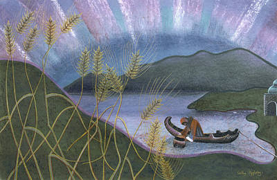 Wheat And Northern Lights Art Print by Sally Appleby