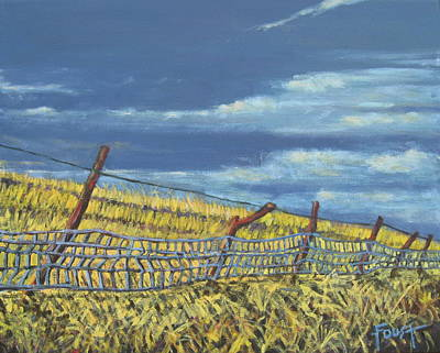 Painting - Wheat Field And Blue Fence by Gene Foust