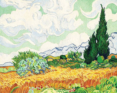 Cypress Tree Drawing - Wheat Field With Cypresses After Van Gogh by Dan Miller