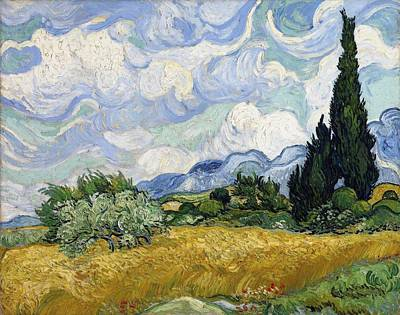 Painting - Wheat Field With Cypresses by Artistic Panda
