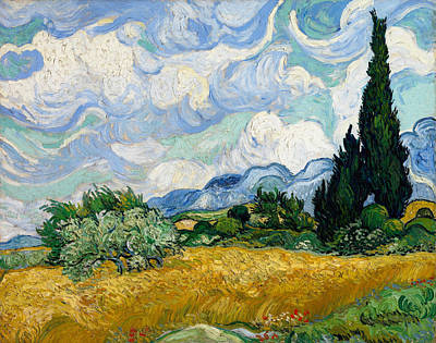 Wheat Field With Cypresses Print by Vincent van Gogh