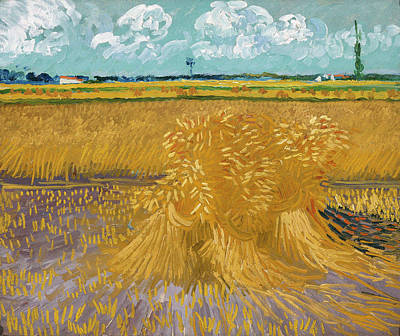 Hayrick Painting - Wheat Field With Sheaves, 1888 by Vincent Van Gogh