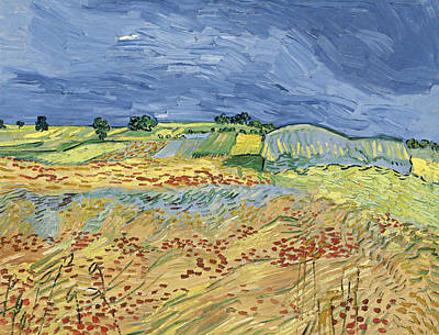 Field Painting - Wheat Field With Stormy Sky by Vincent van Gogh