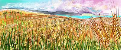Digital Art - Wheat Landscape by Joseph Mora