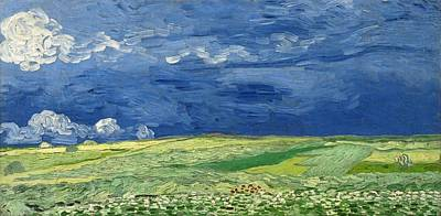 Painting - Wheatfield Under Thunderclouds At Wheat Fields Van Gogh Series, By Vincent Van Gogh by Artistic Panda