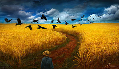 Field Digital Art - Wheatfield With Crows by Alex Ruiz
