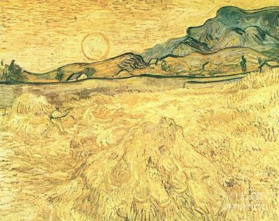 Painting - Wheatfield With Reaper And Sun by Celestial Images