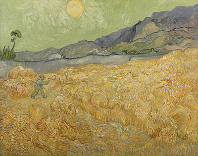 Harvesting Painting - Wheatfield With Reaper by Vincent Van Gogh