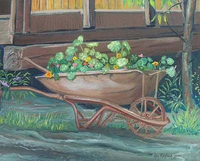 Painting - Wheel Barrow Planter by Amy Reisland-Speer