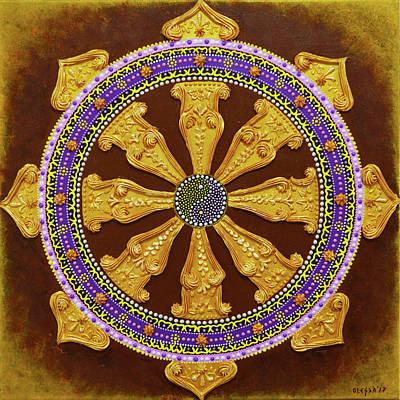 Painting - Wheel Of Life - Gold Dharma Wheel by Olesea Arts