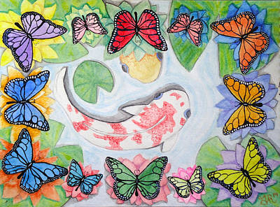 Butterfly Koi Mixed Media - Wheel Pond by Ginger Reynolds