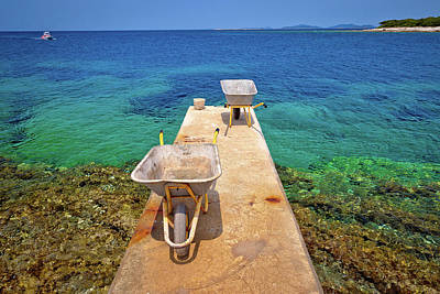 Photograph - Wheelbarrow On Small Island Dock Waiting For Goods Delivery by Brch Photography