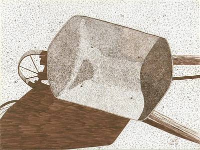 Sepia Ink Drawing - Wheelbarrow by Pat Price