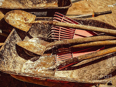 Photograph - Wheelbarrow, Shovels, Rake by Kathleen K Parker