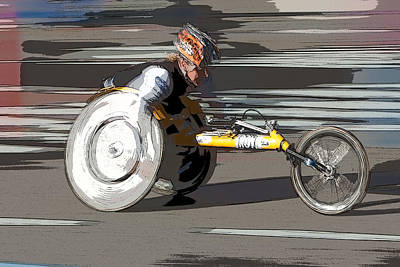 Digital Art - Wheelchair Racer by Clarence Holmes