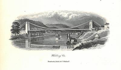 Suspension Bridge Painting - Wheeling Suspension Bridge Lithograph  by MotionAge Designs