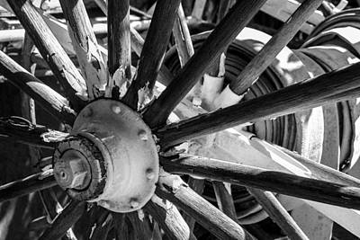 Photograph - Wheels Abstract 1 Black And White by Bonnie Follett