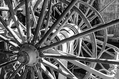 Photograph - Wheels Abstract 2 Black And White by Bonnie Follett