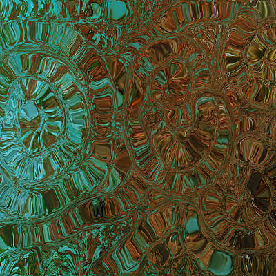 Abstract Digital Mixed Media - Wheels Of Time by Bonnie Bruno