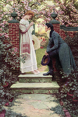 Flirt Painting - When All The World Seemed Young by Howard Pyle