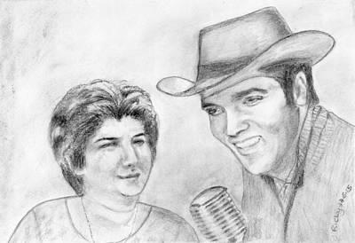 Drawing - When Anne Met Elvis by Veronica Rickard