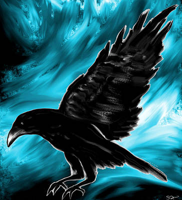 Crow Digital Art - When Black Meets Blue by Abstract Angel Artist Stephen K