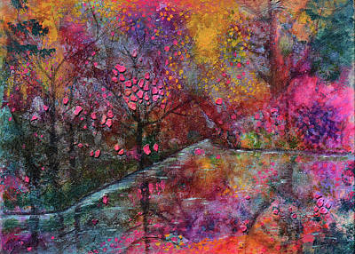 Mixed Media - When Cherry Blossoms Fall by Donna Blackhall