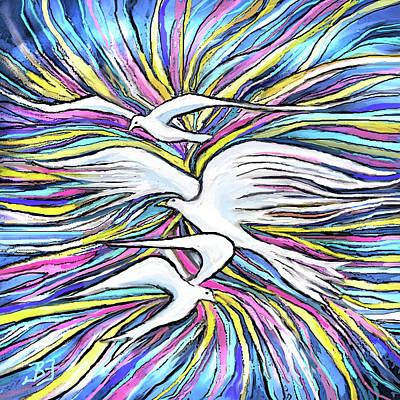 Digital Art - When Doves Fly by Jean Batzell Fitzgerald
