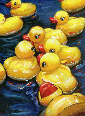Art Print featuring the painting When Ducks Gossip by Lesley Spanos