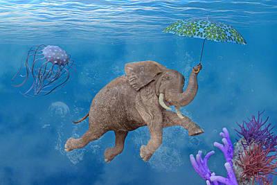 Comics Digital Art - When Elephants Swim by Betsy Knapp