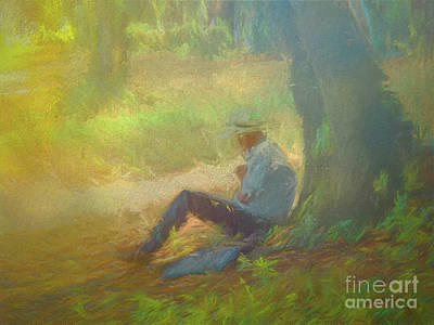 Digital Art - When In Rome 240 - Give Me A Good Book And A Shady Tree by Leigh Kemp