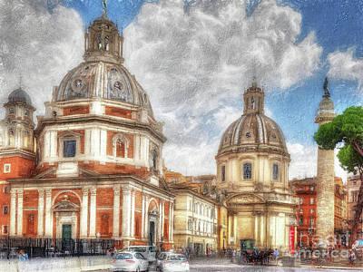 Digital Art - When In Rome 36 - Piazza Venezia 2 by Leigh Kemp