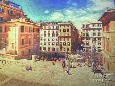 Digital Art - When In Rome 37 - Piazza Spagna From The Spanish Steps by Leigh Kemp