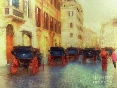 Digital Art - When In Rome 41 - Colourful Cabs by Leigh Kemp