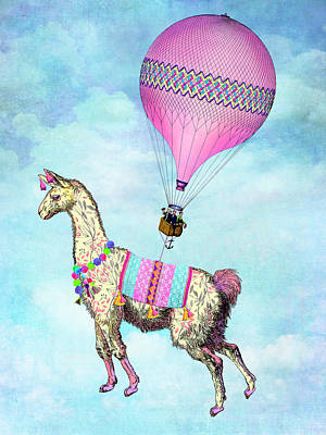 Digital Art - Flying Llama by Tammy Wetzel