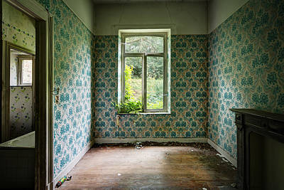When Nature Takes Over  Vintage Wallpaper- Urban Exploration Art Print by Dirk Ercken