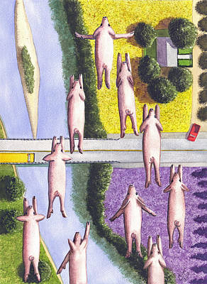 School Bus Painting - When Pigs Fly by Catherine G McElroy